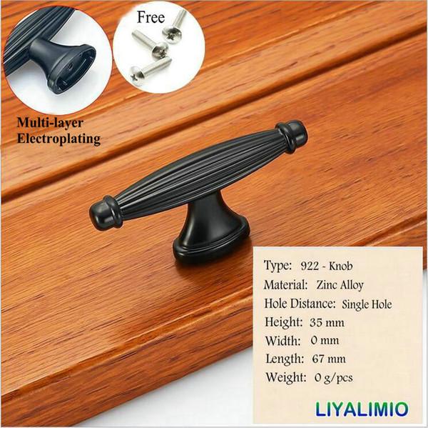 922-Knopf-Mattschwarz-Kabinettgriffe im amerikanischen Stil Küchenschrank Tür zieht Schublade Knöpfe Mode Möbel Griff Hardware