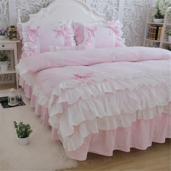New luxury layers bedding set sweet princess bow ruffle duvet cover wedding pink bed sheet girl baby skirt