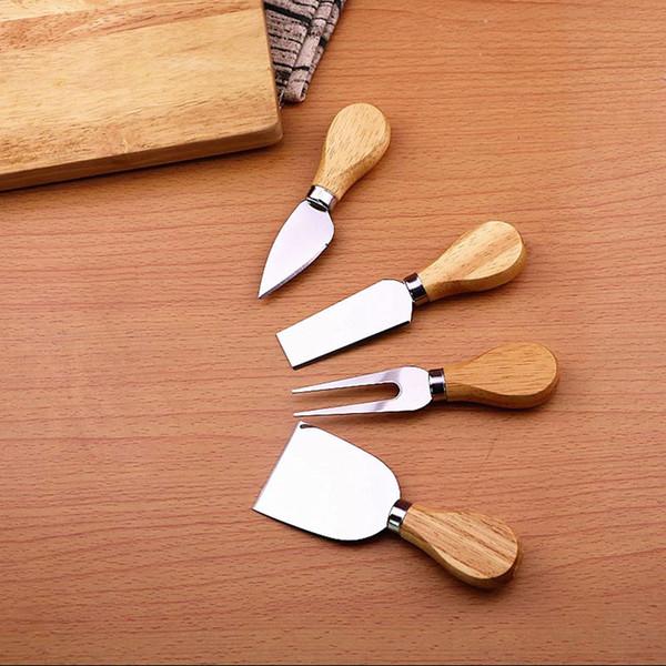 4 pezzi / set set di manico in legno Set di bambù Quercia taglierina di formaggio di bambù Set di affettatrici per cucina Utensili da cucina