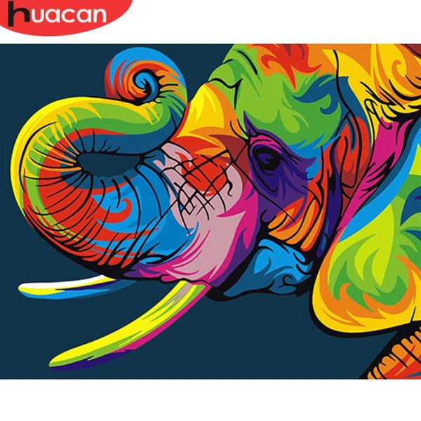 HUACAN Painting By Numbers Animals Elephant Hand Painted Acrylic Unique Gift For Home Decor Frameless Colorful DIY