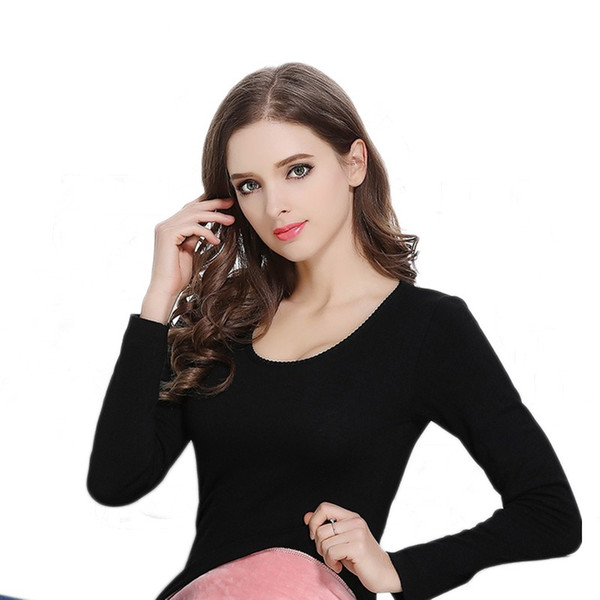 New Winter Thermal Underwear Women Velvet Body Repair Low Collar Single Sleeved Top Women For Winter Clothes Hot Thermal Clothes