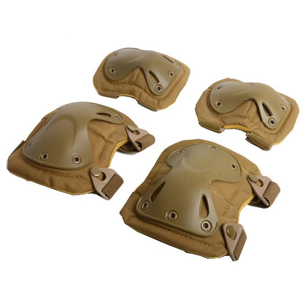 Unisex Bicycle Riding Protective Gear Set Khaki, Black for Multi-sports Knee Pads Outdoor Activities