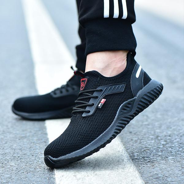2019 Yeni Nefes Örgü Güvenlik Ayakkabıları Erkekler Işık Sneaker Yıkılmaz Çelik Ayak Yumuşak Anti-delici Iş Botları Artı boyutu 36-48