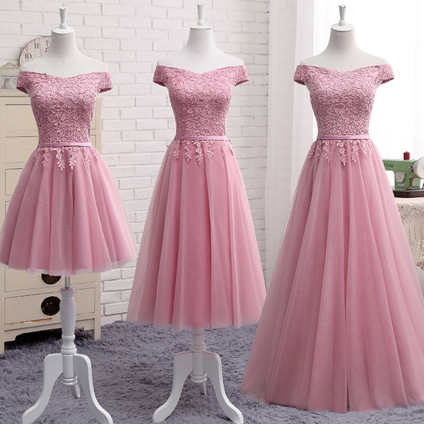 Off Shoulder Gauzy pink lace up bridesmaid dresses new spring summer 2019 short Middle long style party prom dress