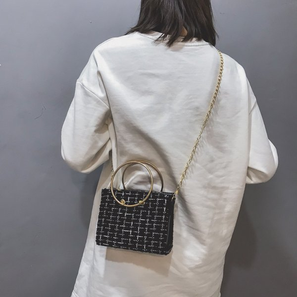 Lucky2019 Exceed Ins Fire Bag Woman Tide Messenger Single Shoulder Heavy Woolen Cloth Chain Joker Small Square Package