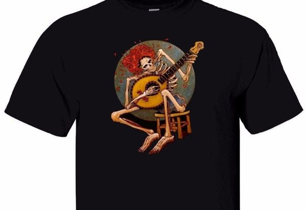 Vintage GRATEFUL DEAD Skeleton with guitar men's black T shirt T- 640Funny free shipping Unisex Casual Tshirt