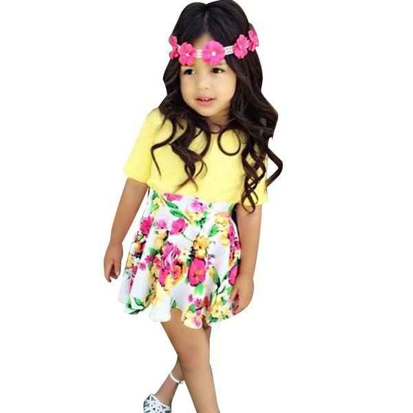 OLEKID Ropa de verano para niña Conjunto Faldas florales + Camiseta amarilla para bebés Ropa para niñas 1-4 años Traje de disfraz de niña pequeña