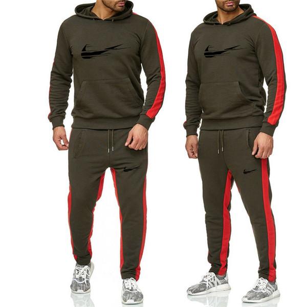 الرجال رومبير رياضية الرجال 2018 الخريف أزياء عارضة المسار بدلة طويلة الأكمام هوديس البلوز + السراويل عارضة رجل 2 قطعة مجموعة