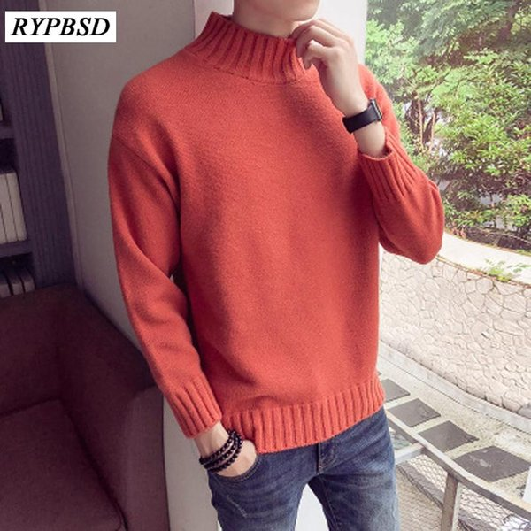 8 Colors Autumn Men Winter Sweater Pure Color Warm Hedging Sweater Tide Male Half-high Turtleneck Collar Thick Pullover
