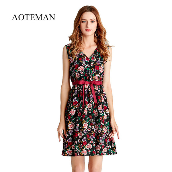 AOTEMAN Summer Dress Women Sweet Print Floral Fashion Casual Style Deep V Dress Vintage Short Female Elegant Beach Party Dresses Y190117