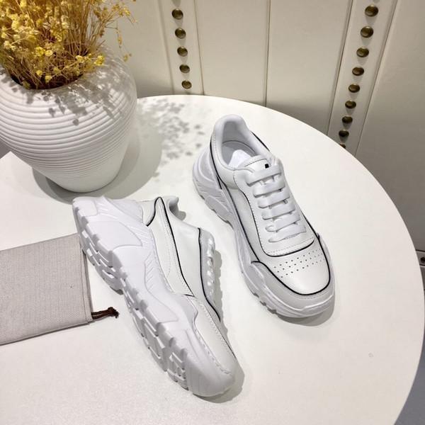 2019 Fashion Designer Women Shoe scarpe casual in pelle bianca ragazza uomo sneakers piatte nere comode taglia 35-39 rx190118