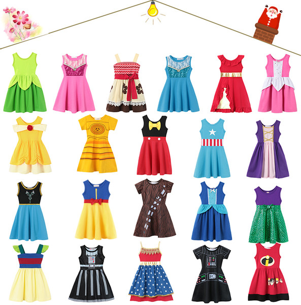top popular 2019 New 21 style Little Girls Princess Summer Cartoon Children Kids princess dresses Casual Clothes Kid Trip Frocks Party Costume free ship 2020