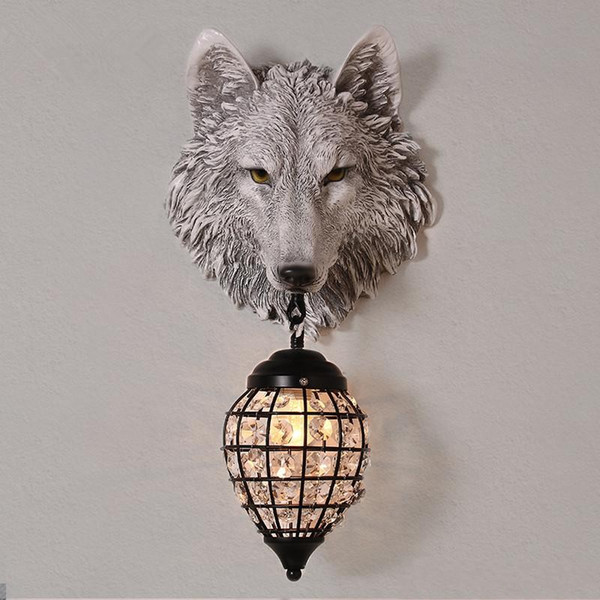 Classic LED Crystal Wall Lamp Fixture Resin Wolf Wall Light Art Sconce For Children's Bedroom Corridor Ferocious beast Lamp