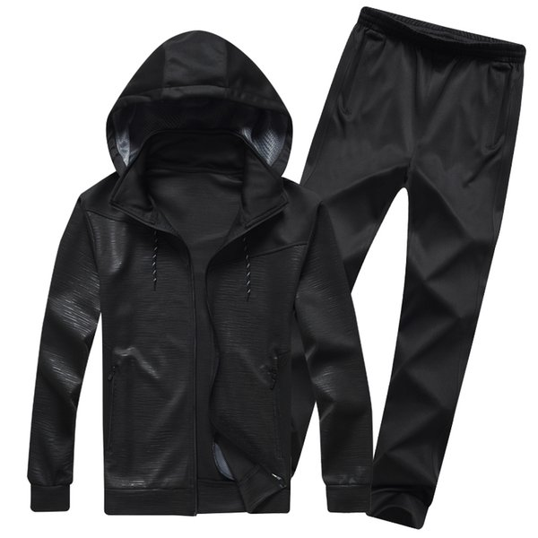 Brand Men`s Sportswear set casual for gym Hooded Sweatshirts Sporting Suits men outwear jacket+Pants joggers sets men clothing T190919