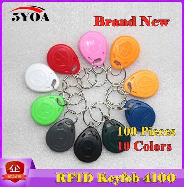 100 Unids EM4100 125khz ID Keyfob Etiquetas RFID Etiquetas llaveros llavero Porta Chave Tarjeta de Etiqueta Key Fob Token Ring Chip de Proximidad