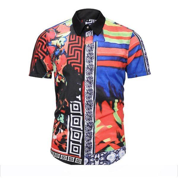 ab Wholesale 3d Fashio Camisa Casual Shirts Men's 2018 Italy Fashio Brand camisa hawaiana Golden Flowers Print CHEMISE Maillot Free Shi