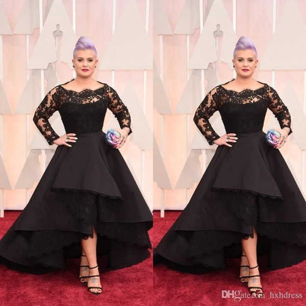 Plus Size Long Formal Evening Dresses Oscar Kelly Osbourne Celebrity Black Lace High Low Red Carpet Dresses Ruffles Prom Party Gowns WLF6
