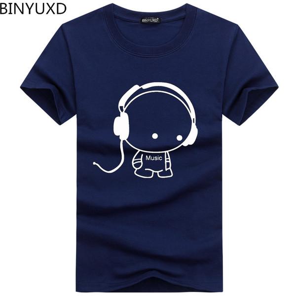 BINYUXD En Kaliteli T Shirt Moda Kulaklık Karikatür Baskılı Casual T Gömlek Erkekler Marka T-shirt Pamuk Tee Gömlek Artı Boyutu 5XL