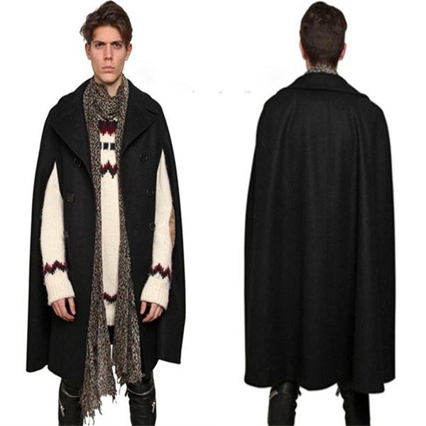 Big code 2019 New men clothing Fashion hairdresser long double-breasted Cape bat sleeve Cape sleeveless woolen coat windbreaker