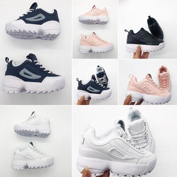 FILA 2019 de alta calidad para niños pequeños zapatillas de deporte estáticas chaussure de sport pour enfant boys girls Casual Trainers tamaño 28-35