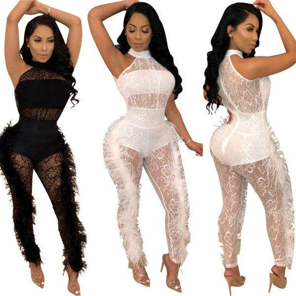 Fashion Lace Fur Jumpsuit Plus Size Sexy Durchsichtig Feather Trim Lace Jumpsuit Dünne Bodysuits Overalls Clubwears Sexy Party Overalls