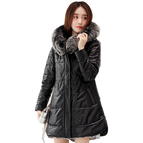 Women Genuine Leather Jacket Natural Fox Fur Collar Hooded Women's Down Jackets Long Warm Sheepskin Coat Female Z542