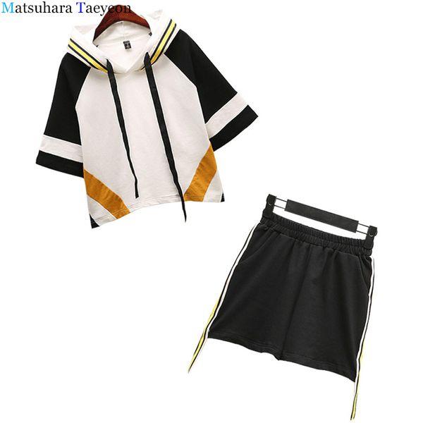 2019 mode frauen Sport Anzüge Koreanische version von neuen sommer Frauen Set Anzug Mit Kapuze Frauen Anzüge 2 Stück Anzug tops + shorts