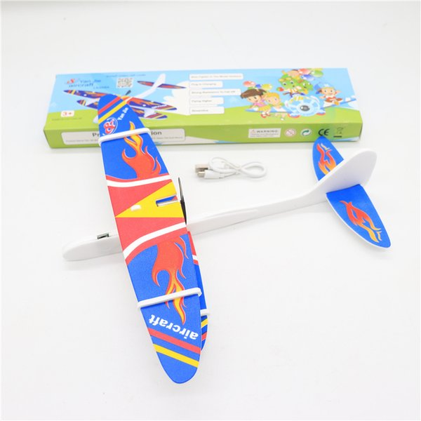 Kids Electric Aircraft Toy Airplane Model Hand Throw Plane Foam Launch Flying Glider Plane with box Kids Outdoor Game Interesting Toys SS241