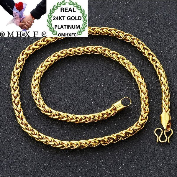 Omhxfc Wholesale European Fashion Man Male Party Wedding Gift All Match Long 60cm Link Real 24kt Gold Chain Necklace Nl37 Y19052301