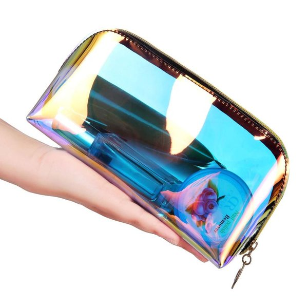 Laser Travel PVC Cosmetic Bags Women 2 Sizes Makeup Bags Organizer Bath Wash Make Up Toiletry Transparent Clear Pouch Cute Bag