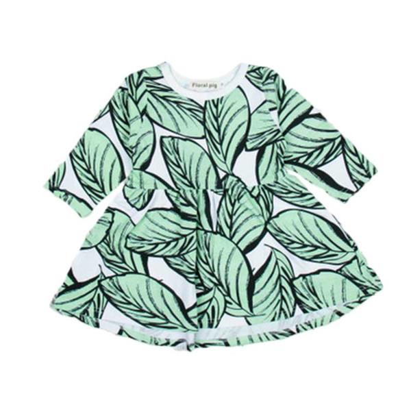 Vestito da ragazza Neonata Abiti firmati Gonna a pieghe Abbigliamento per bambini Manica lunga Dolce stile pastorale Foglia stampata Semplicità alla moda
