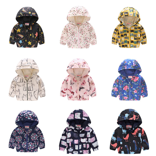 top popular 2019 Kids Clothes Boys Jackets Children Hooded Zipper Windbreaker Baby Fashion Print Coat Infant Hoodies For Girls LE417 2021