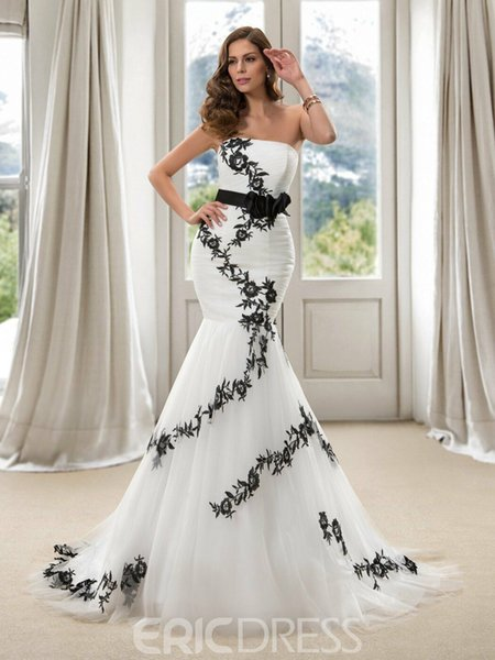 Handmade Flower US2-26W++ Belt Noble White and Black Embroidery Wedding Dress 2019 Tulle Strapless Mermaid Formal Party Bridal Gown Colorful
