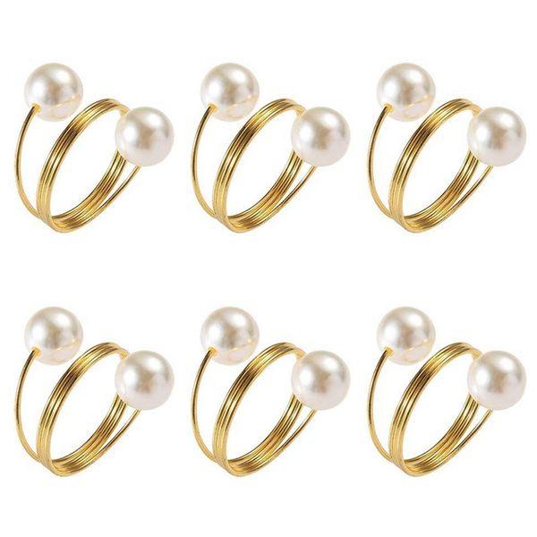 NEW-6 pezzi Pearl Anelli di tovagliolo, portatovaglioli, tovagliolo fibbia per Ricevimento di nozze, feste, banchetti, cena di prova, le tovaglie