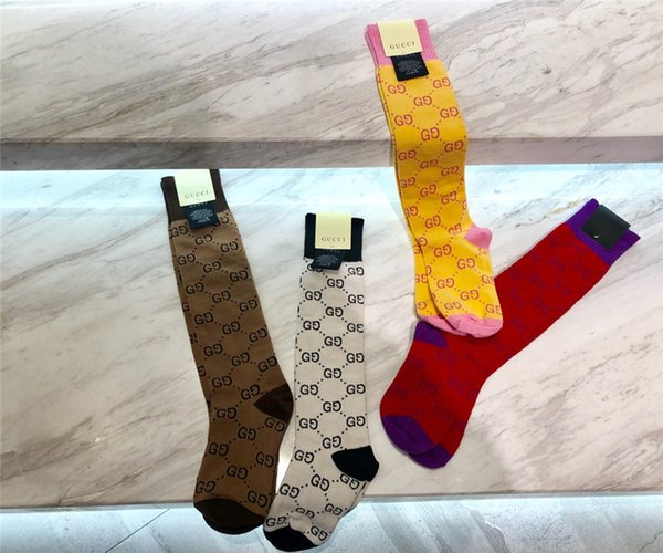 Hot Sale Women Cotton Socks With Box Full Letter Stripe High Quality Stocking Simple Versatile Stockings