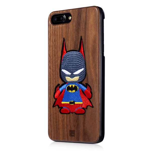 Black Walnut Wood Mobile Phone Case For Iphone X Xs Max XR 8/7/6 Plus Cartoon Character Batman Superman Spiderman Anime Around Fashion Trend
