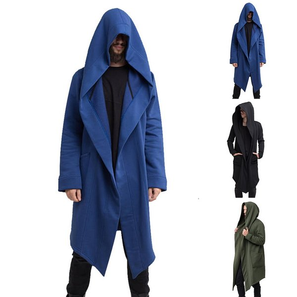 Drop shipping MoneRffi Mens Open Front Long Sleeve Draped Lightweight Longline Hooded Cardigan with Pockets