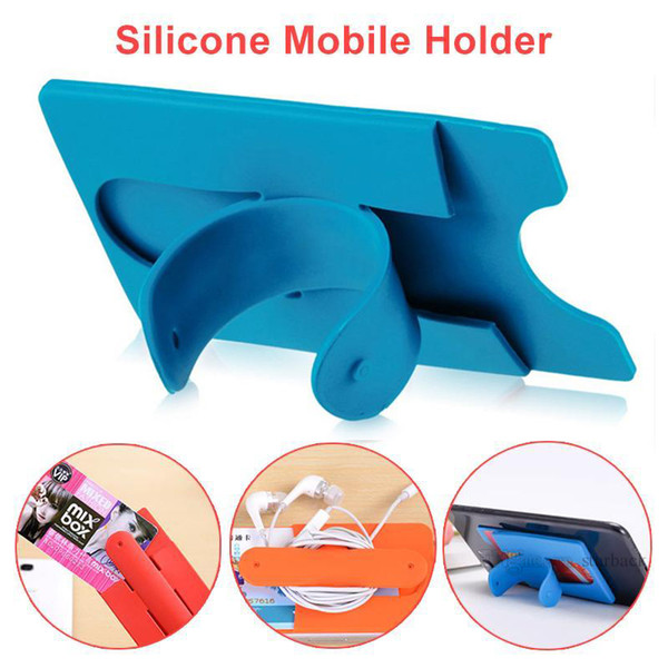 Silicone Touch U Type Phone Holder Stand Bandage Card Cover Bracket Phone Holder Stand Lazy Stent Universal For Mobile Phone Free DHL M24XY