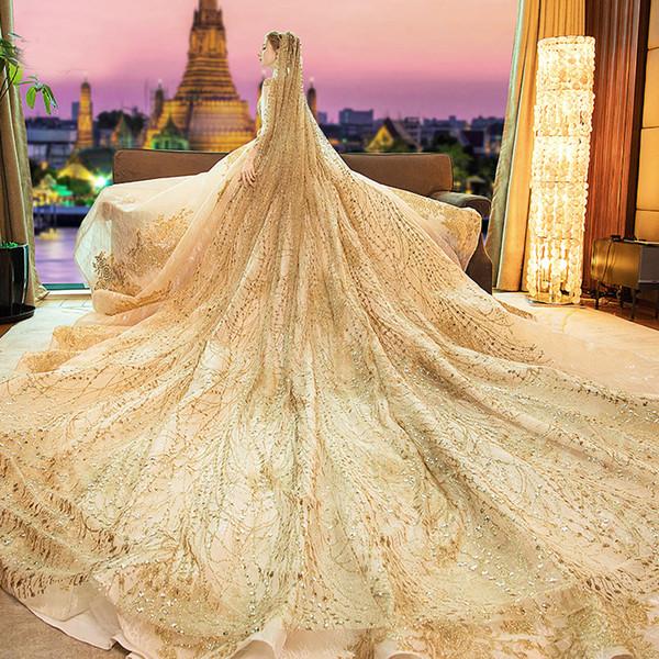 2019 Velo da sposa di lusso in oro con paillettes Velo da sposa 3 metri Accessori da sposa Voile de Mariage