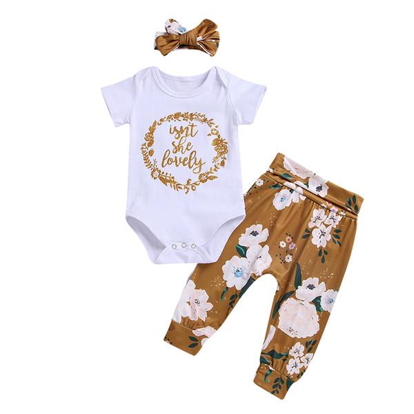 Bebek Giysileri Kızlar Harfler Romper Çocuklar Set Kısa Kollu Romper + Çiçekler Baskılı Pantolon + Headand 3 adet Kıyafet Çocu ...