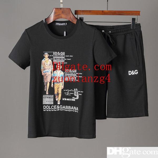 2019 Летний новый костюм мужские короткие спортивные шорты Футболка повседневный костюм брюки с короткими рукавами футболки Череп POLO TOP PP2222