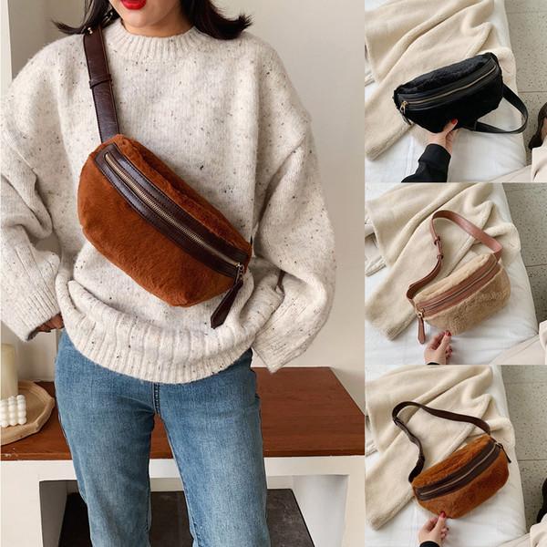Women's Fashion Sport Patchwork Zipper Plush Waist Bag Chest Bag Shoulder Fanny Pack Chest Bum Bolso Para Senhora*5