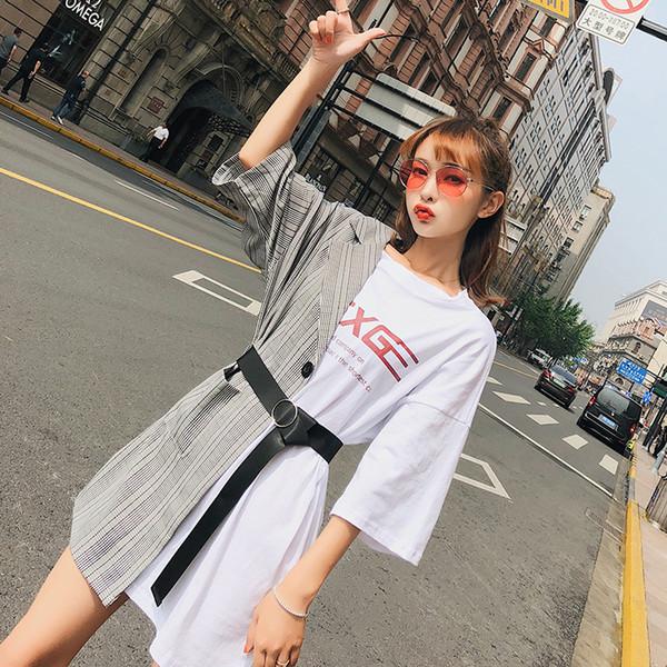2019 Coreano Splicing falso in due pezzi vestito lettera Bardian T Shirt mezza tuta sciolto Street Snap gonna con cintura all'ingrosso
