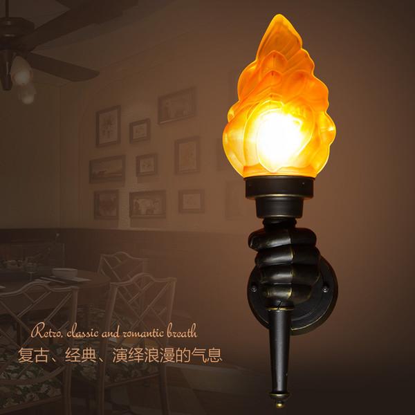 Antik duvar ışık Evi Mutfak Yemek odası Yatak odası duvar yan lamba art deco LED alev etkisi aydınlatma armatürleri aplikler