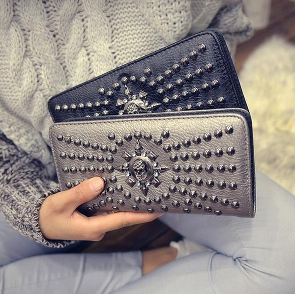 New Fashion Women's Wallet Long Pu Leather Clutch Purse Handbag Cool Vintage Punches Black / Silver Men's Wallet Free Shipping