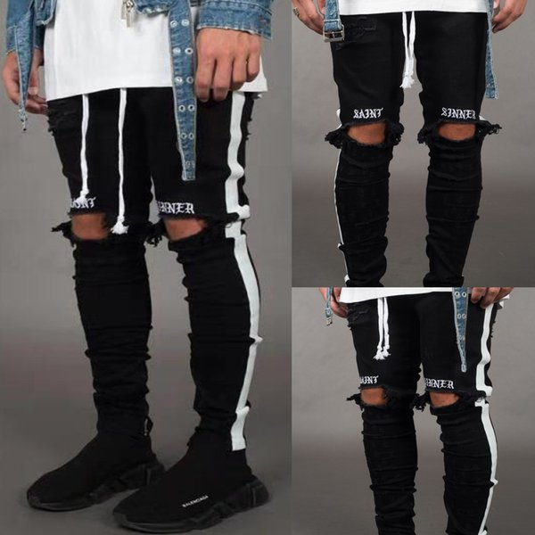 Nuovi uomini Jean Street Black Holes Designer Stripes Jeans Hip Hop Skateboard Pencil Pants Taglia S-3XL