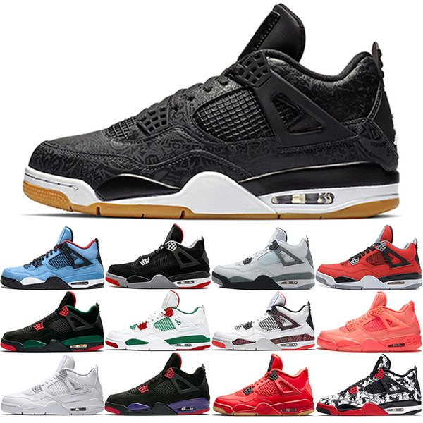 Nike Jordan Air Retro 2019 Bred 4s Мужчины Баскетбольные кроссовки 4 NRG Черно-белая лазерная каме