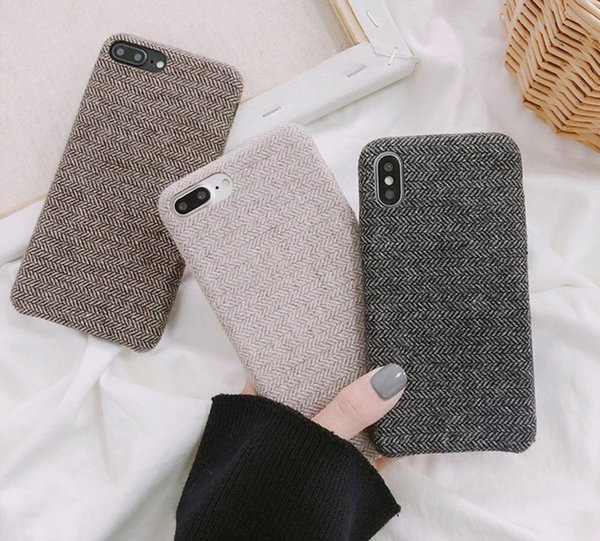 SoCouple Case For iPhone 7 Warm Cloth Texture Ultra thin Soft Back Cover For iPhone 6 6s 7 8 plus X Xs Max XR Phone Case
