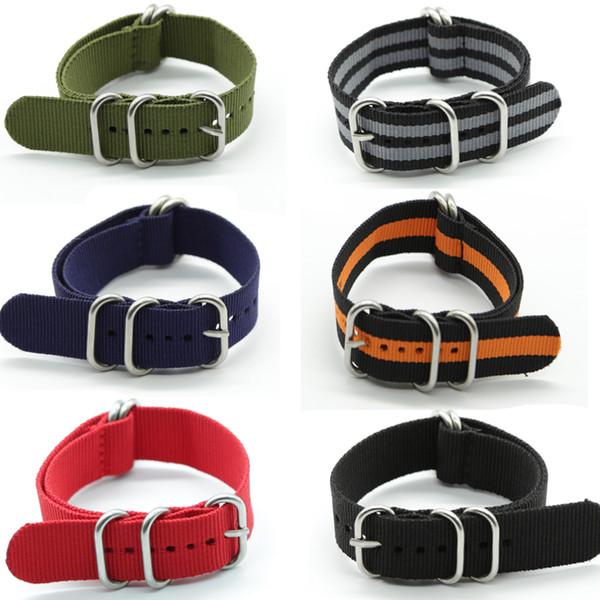 Offre spéciale gros 20mm 22mm 24mm Nylon Bande de Montre Nato Couleur Zulu Nylon Bracelets de Montre