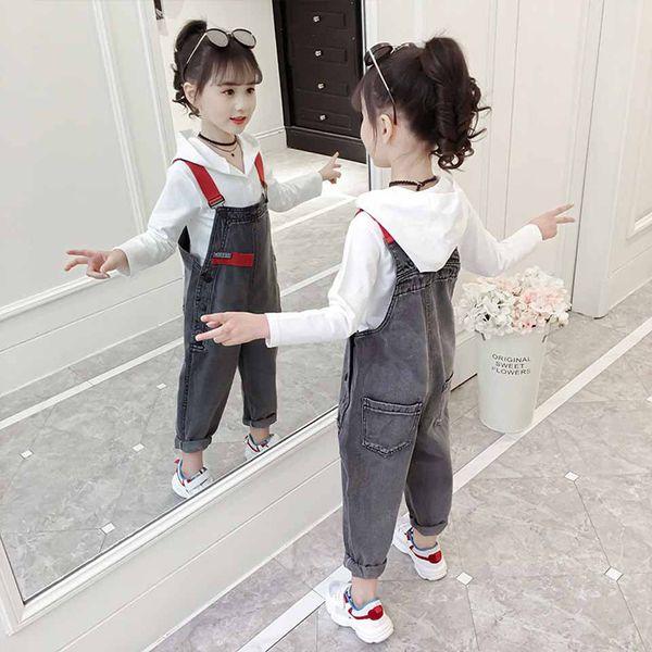 8 10 12 13 Printemps Enfants Vêtements À Capuche + Denim Salopette 2 Pcs Jeans Pantalon Filles Vêtements Automne Combinaison De Mode Enfants Pantalons